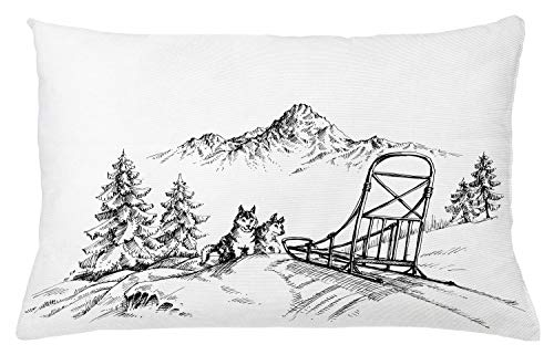"Ambesonne Alaskan Malamute Throw Pillow Cushion Cover, Mountain Landscape in Winter Sledding Dogs Pine Trees Wilderness Art, Decorative Rectangle Accent Pillow Case, 26"" X 16"", Charcoal and White"