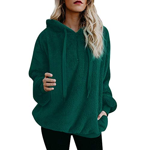 Toimoth Women Winter Warm Fluffy Top Hoodie Sweatshirt Ladies Hooded Pullover Jumper(Green,2XL)