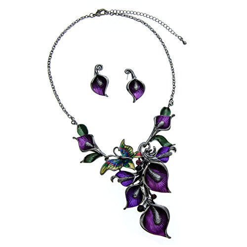 [Purple Metal and Butterfly Crystal Statement Necklace and Earrings Set] (Butterfly Costume Jewelry)