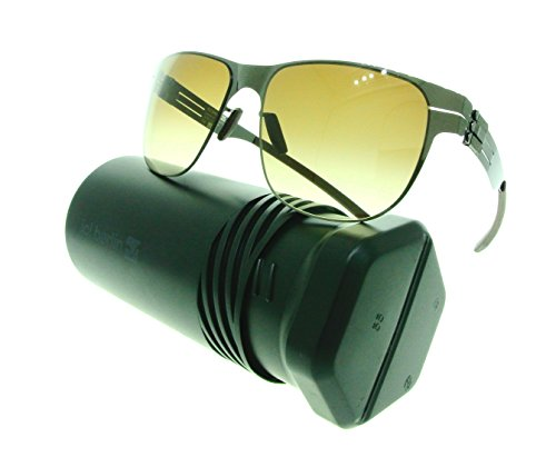 ic! berlin Sunglasses Uli E. Aviator Sunglasses Metal Frames (Gunmetal, Brown - Ic Sunglasses Berlin