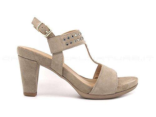 7852 Visone Sandalia De Zapato De Mujer Talón Y Cuero De Co Hecho En Italia