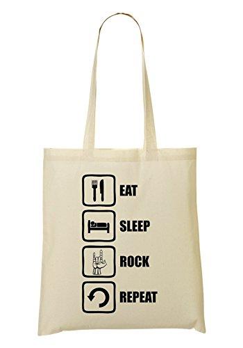 Eat Sleep Rock Repeat Dope Graphic Bolso De Mano Bolsa De La Compra