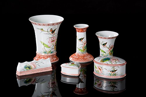 Guan Ci Chinese Porcelain Stationery Accessories (Famille Rose Decoration) by Guan Ci