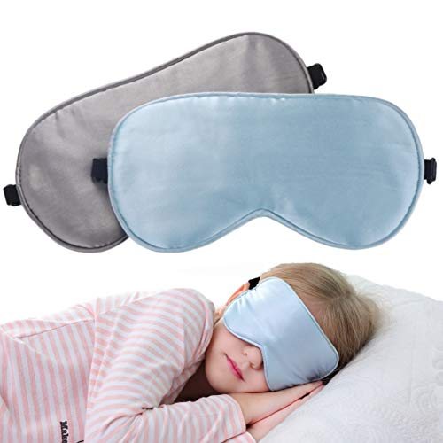 2 Pack Lonfrote Children Eye Mask Smooth Blindford for Travel Relax Supper Soft Natural Silk Sleep Mask for Kids Sleeping]()