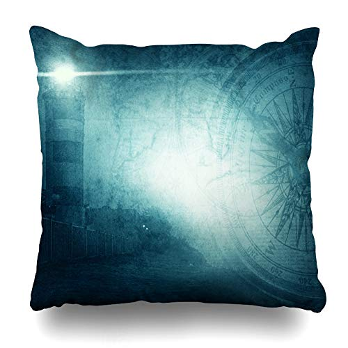 Ahawoso Throw Pillow Cover Aged Blue Lighthouse Adventure Stories Science Corsair Vintage Compass Dark Rope Adventurous Design Home Decor Pillow Case Square Size 16x16 Inches Zippered Pillowcase