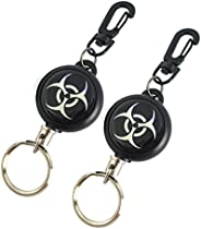 """Faocean 2 pcs Retractable Keychain Badge Holders Reel Clips with Swivel Carabiner and Key Ring,24"""" Polyes"""