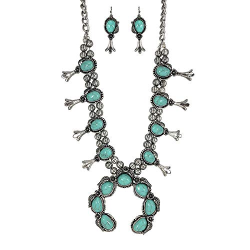 Turquoise Vintage Squash Blossom Metal Statement Necklace/w Earrings No.530 ()