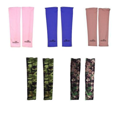 UPC 700646341979, Elife Set of 5 Pairs Assorted Color UV Protection Cooler Arm Sleeves for Bike/Hiking/Golf/Jogging/Claiming (Pink, Blue, Brown, Woodland Camouflage BDU&Woodland Digital)