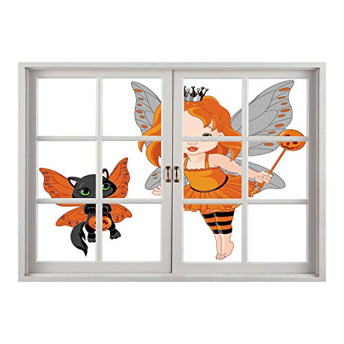 SCOCICI Removable 3D Windows Frame Wall Mural Stickers/Halloween,Halloween Baby Fairy and Her Cat in Costumes Butterflies Girls Kids Room Decor Decorative,Multicolor/Wall Sticker -