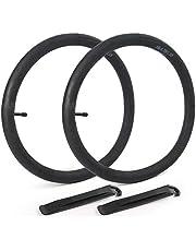 LotFancy 2 Pack 18 Inch Bike Tubes, Schrader Valve (32mm), 18 x1.75 18 x 1.95 18 x 2.10 18 x 2.125 Bike Inner Tubes, Plus 2 Nylon Plastic Tire Levers