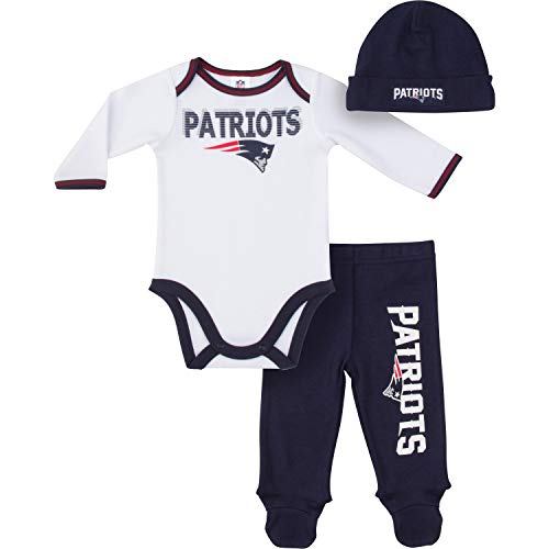 Gerber Childrenswear NFL New England Patriots Boys 2018Bodysuit Footed Pant & Cap Set, Blue, 6-9 Months by Gerber Childrenswear