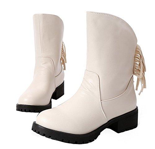 Sin Suede Tacón Ageemi Pu Beige Mini Cordones Mujeres Shoes Caña Baja Botas CqwxAYAE0