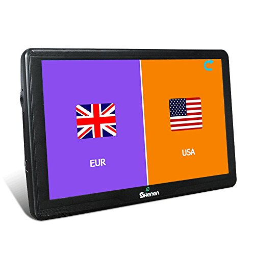 All America Europe Maps 16GB Car Navigation 7 Inches GPS SAT NAV Capacitive Touchscreen Lifetime Maps Updates with 2 Car Charger