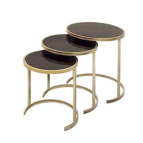 3 Piece Nesting End Tables - Iron Base End Table Glass Top - Black/Gold (Iron Nesting Tables Square)