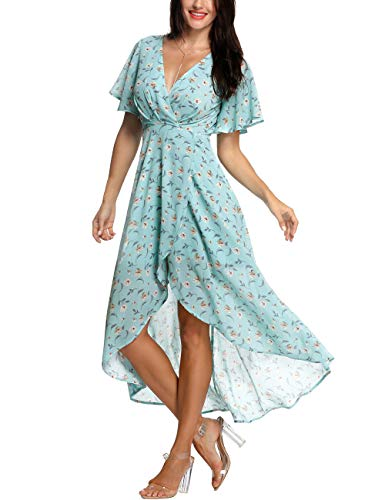 Azalosie Wrap Maxi Dress Short Sleeve V Neck Floral Flowy Front Slit High Low Women Summer Beach Party Wedding Dress Light Blue