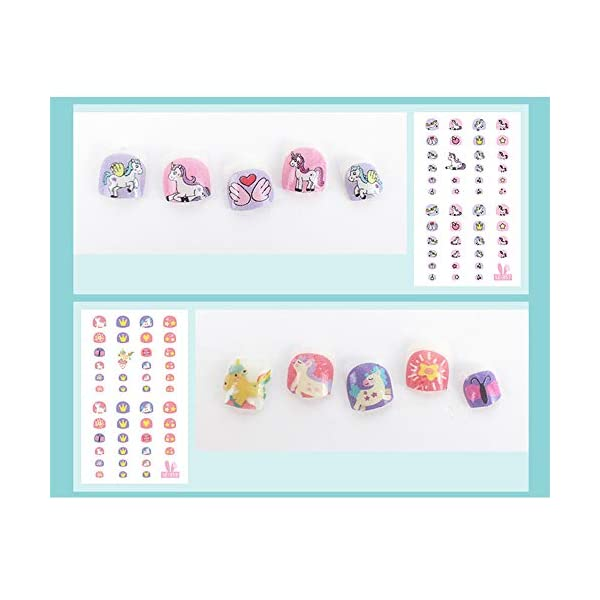Elesa Miracle Kids Unicorn Nail Stickers for Little Girl Nirl Art Decals Unicorn Party Favor Pretend Play Princess Jewelry 480 Nails 6