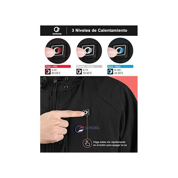 4 Grandes Zonas de Calentamiento: La chaqueta térmica OUTCOOL tiene elemento de calefacción en 4 zonas: pecho izquierdo, pecho derecho, espalda y cuello. Tecnología de calentamiento rápido de alta calidad, que se calientan rápidamente durante los períodos fríos al emitir una buena cantidad de calor 4 Modos de Control de Temperatura: La chaqueta térmica calentada tiene 4 modos de control de temperatura de diseño: ① Precalentamiento: luz roja intermitente, calentamiento rápido; ② temperatura alta: luz roja; ③ temperatura media: luz blanca ; ④ temperatura baja: luz azul Capa Exterior Impermeable y Forro Polar: La chaqueta térmica térmica tiene una capa exterior hecha de tela impermeable a prueba de viento y tiene un buen efecto protector en el mal tiempo; el forro interior es de felpa, más abrigado y muy adecuado para escalada al aire libre, esquí, motociclismo, etc.
