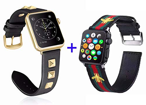 Mortree Leather Band Studded Inlay Rivet Bling and Nylon Band Embroidered Gold Bee 2 Sets Compatible Iwatch 44mm or 42mm,Replacement Wristband for Iwatch All Versions(Black 2 Sets, 42mm or 44mm)