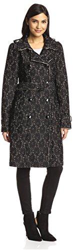 Hazel Women's Embroidered Trench Coat, Black, S