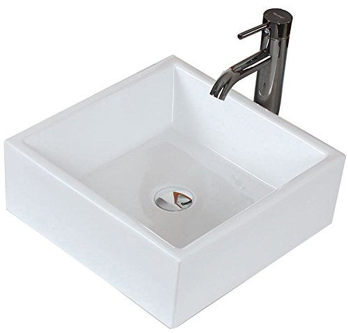 American Imaginations AI-17-150 Above Counter Square Vessel for Deck/Wall Mount Faucet, 15-Inch x 15-Inch, White IMG Imports Inc.