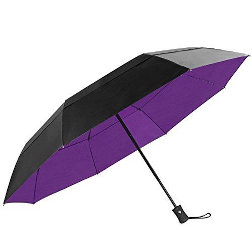 KOLER Travel Umbrella Windproof Auto Open Close Large Sized Double Canopy Waterproof & Sunproof 46 Inch Oversized Folding Umbrellas – Black/Purple -