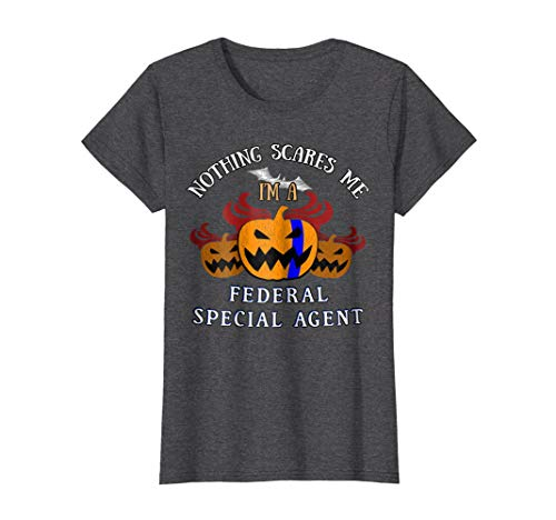 Womens Federal Special Agent Blue Line on Pumpkin for Halloween XL Dark Heather -