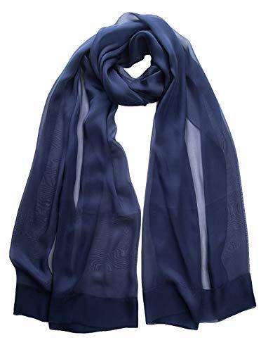 Elizabetta Evening Shawl Wrap, Pure Silk Chiffon, Made in Italy Blue ()
