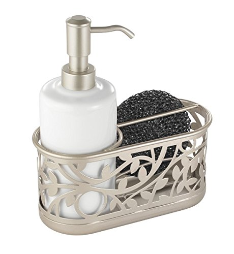 mDesign Kitchen Sink Soap Dispenser Pump and Sponge Caddy Organizer - White/Satin