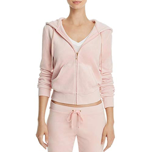 (Juicy Couture Black Label Roberston Womens Velour Hoodie Jacket Pink Size XL)