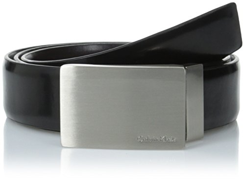 Calvin Klein Men's Feather Edge Leather Belt With Plaque Buckle, Black/Brown, 34