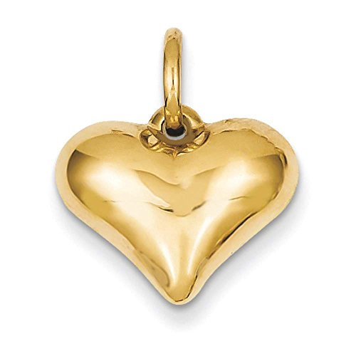 14k Yellow Gold 3D Hollow Polished Puffed Heart Charm Pendant 19mmx16mm