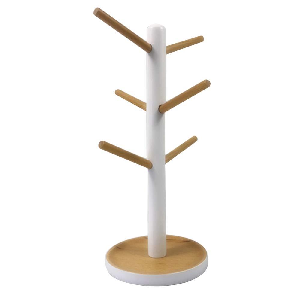 BESTONZON Porta tazze da appendere a forma di Albero di legno per 6 tazze
