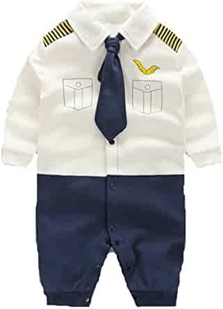 df1cb1944 Angelchild Baby Boy One Piece Long Sleeve Gentleman Formal Outfit with Bow  Tie