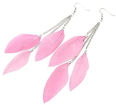 AnVei-Nao Womens Girls Feather Tassel Hook Ear Stud Earrings Fashion Jewelry