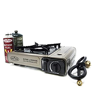 GasOne Propane or Butane Stove GS-3400P Dual Fuel Portable Camping and Backpacking Gas Stove Burner with Carrying Case Great for Emergency Preparedness Kit (Gold)