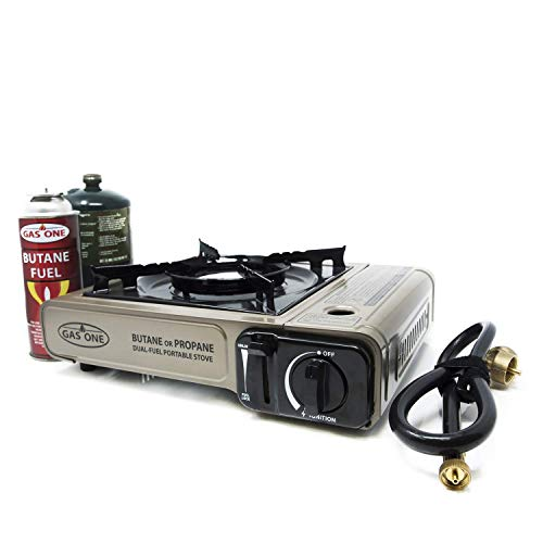 (Gas ONE Propane or Butane Stove GS-3400P Dual Fuel Portable Camping and Backpacking Gas Stove Burner with Carrying Case Great for Emergency Preparedness Kit (Gold))