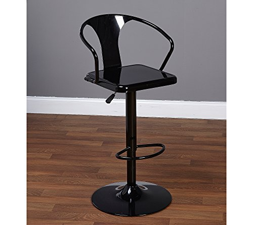 Target Marketing Systems Max Industrial Metal Adjustable Swivel Bar Stool with Arms