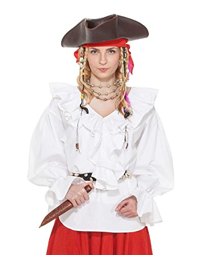 Pirate Renaissance Medieval Wench Womens Costume Helen Ramsay Blouse [White] (X-Large)