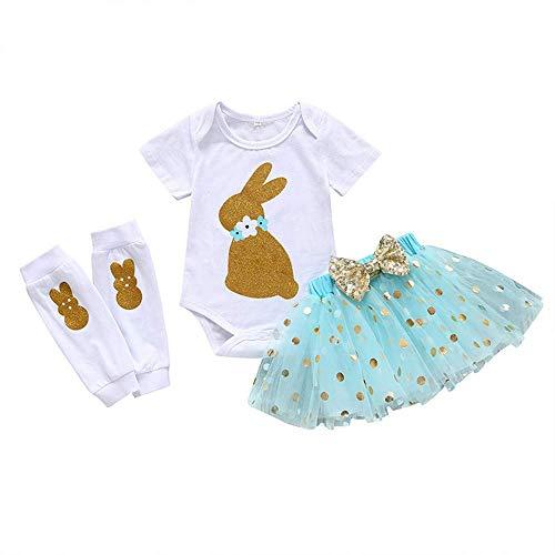 Baby Girls 3PCs Sets My 1st Easter Tutu Dress God Bunny Romper Short Slevee Bodysuit Legs Warmers (Blue, -