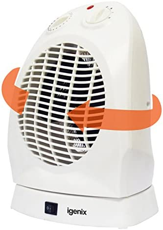 Igenix IG9021 Upright Portable Oscillating Electric Fan Heater with 2 Heat Settings, Ideal for Small Rooms, Caravans and Garages, 2000 W, White