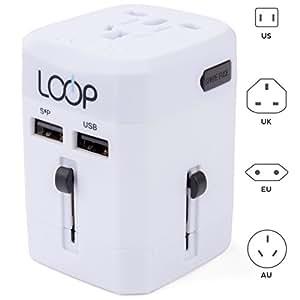 LOOP World Adapter Plug, Worldwide Travel Adapter Charger [US UK EU AU CN] w/ Dual USB Charging Ports & Universal AC Socket - Safety Fused (White)