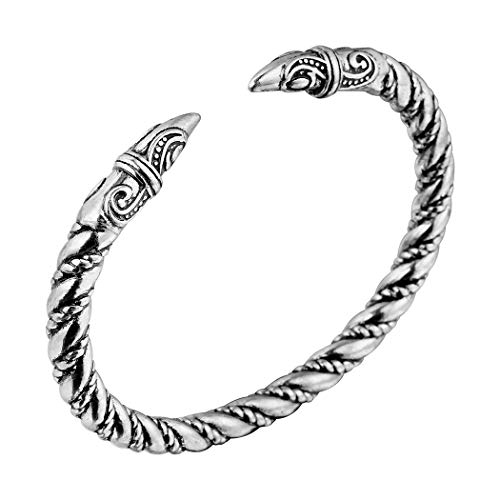 (AILUOR Men's Double Head Dragon Bracelet, Norse Viking Adjustable Stainless Steel Gold Sliver Cuff Cool Polished Twisted Arm Ring Cable Bangles Pagan Jewelry)