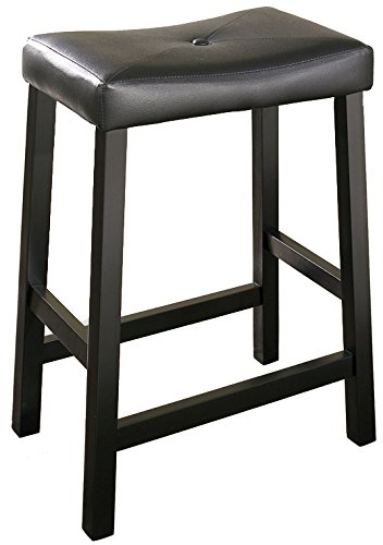Crosley Furniture CF500224-BK Upholstered Saddle Seat Bar Stool (Set of 2), 24-inch, Black