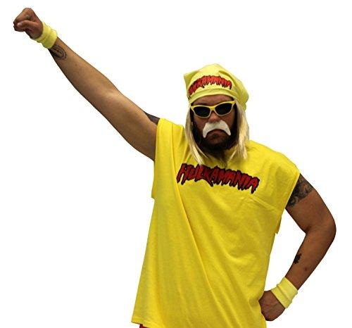 Hulk Hogan Hulkamania Complete Costume Set (Adult Small, Yellow Sunglasses/Yellow Bandana)]()