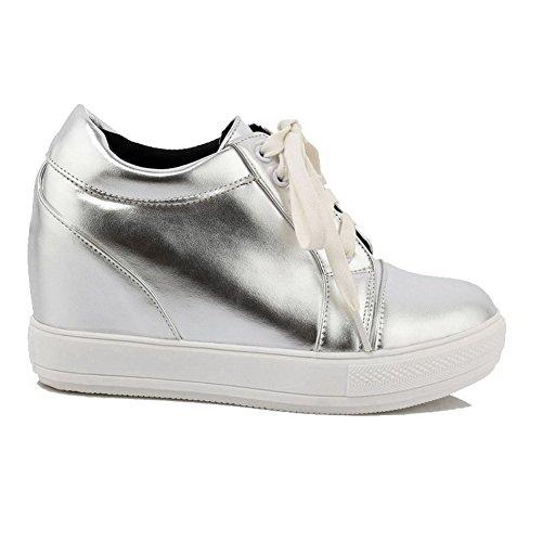 AllhqFashion Damen Weiches Material Rund Zehe Hoher Absatz Schnüren Rein Pumps Schuhe Silber