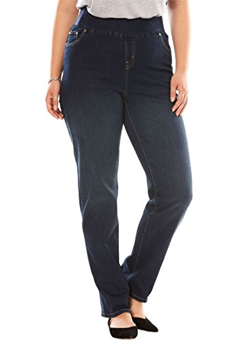 Woman Within Plus Size Straight Leg Smooth Waist Jean - Indigo Sanded, 30 W