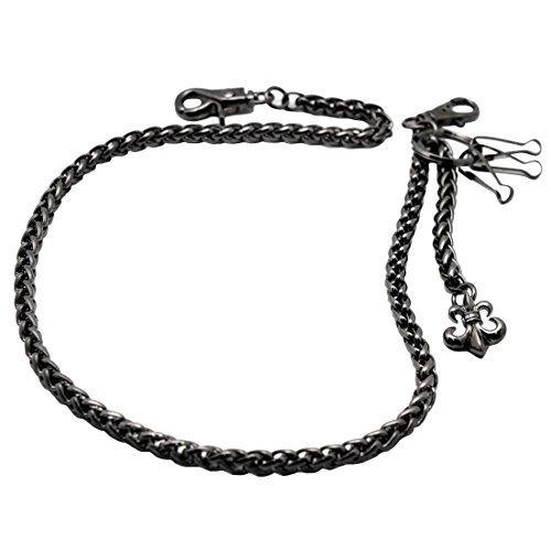[해외]Uniqsum 망 플 뢰 르 드 리스 밧줄 모양 지갑 체인 바이 커 펑크 키 체인 CH404B (건 메탈) / Uniqsum Men`s Fleur de Lis Rope Shape Wallet Chain Biker Punk Keychain CH404B (Gunmetal)