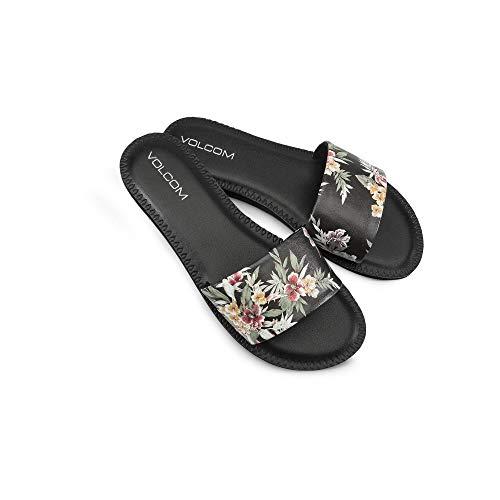 Volcom Women's Women's Simple Synthetic Leather Strap Slide Sandal Sandal, Black Combo, 8 B US (Synthetic Sandals For Women)