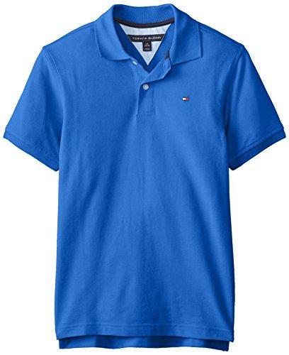 Tommy Hilfiger Big Boys' Short Sleeve Ivy Polo,Blue Jean,Small(8/10)