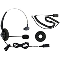 RJ9 Corded Headset Include bottom cord for Aastra AltiGen Avaya/Lucent Alcatel-Lucent Ascom Comdial Digium Gigaset Hybrex Intertel Mitel NEC Nortel Networks Polycom SoundPoint ShoreTel Siemens Toshiba